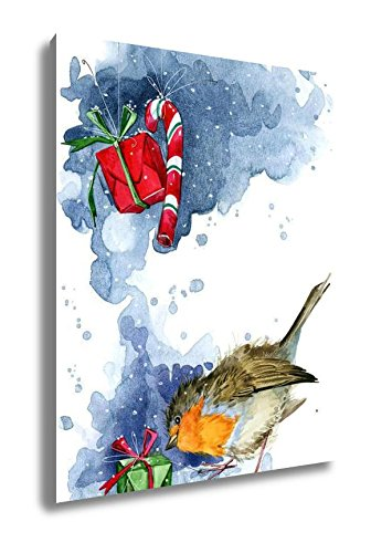 Ashley Canvas Christmas Card Christmas Bird Watercolor With Gifts New Year Watercolor, Kitchen Bedroom Living Room Art, Color 30x24, AG6606298 (Watercolor Cards Christmas)