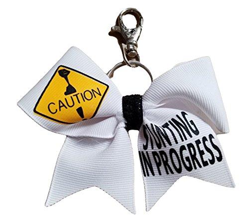 (Cheer bows White Caution Stunting in Progress Key Chain)