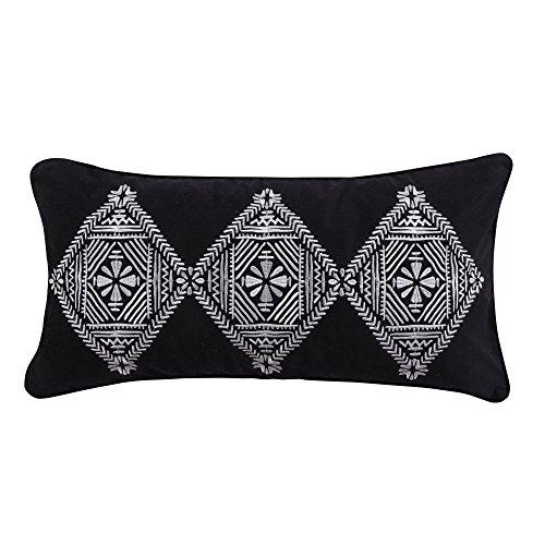 (Levtex Carlisle Grey Emb Tri Diamond Pillow, Black/White, Medallion)