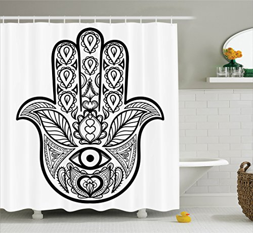 Mandala Decor Shower Curtain Set By Ambesonne, Hamsa Hand With Inner Eye Image Evil Eyes God Bless You Oriental Eastern Art Print, Bathroom Accessories, 69W X 70L Inches, White Black (Eyes Shower Curtain)