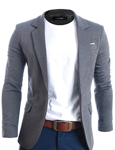 FLATSEVEN Mens Slim Fit Casual Premium Blazer Jacket (BJ102) Grey, L