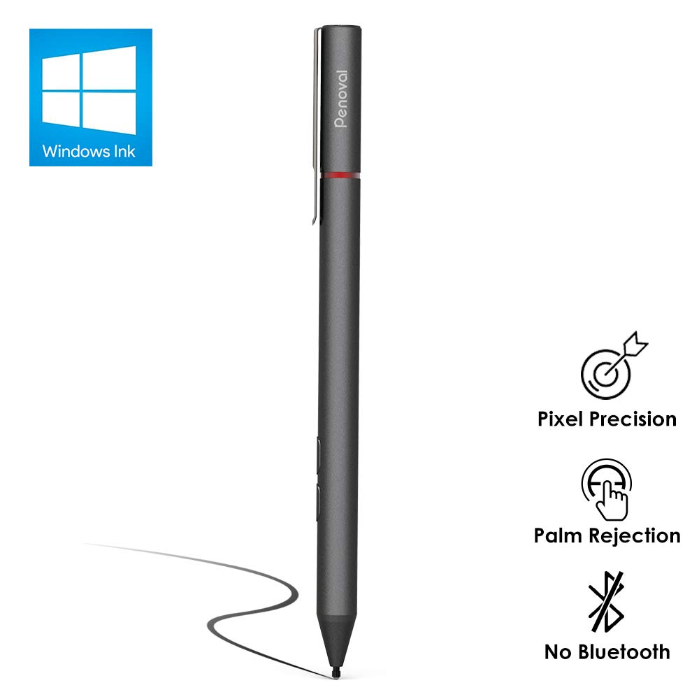 Penoval Surface Pen with Microsoft Certified, 4096 Pressure Sensitivity, Aluminium Body, for Microsoft New Surface Pro 3/4/5/6/Go, Surface Book, Surface Laptop/Studio and More (4A Battery & 2 Nibs) by Penoval