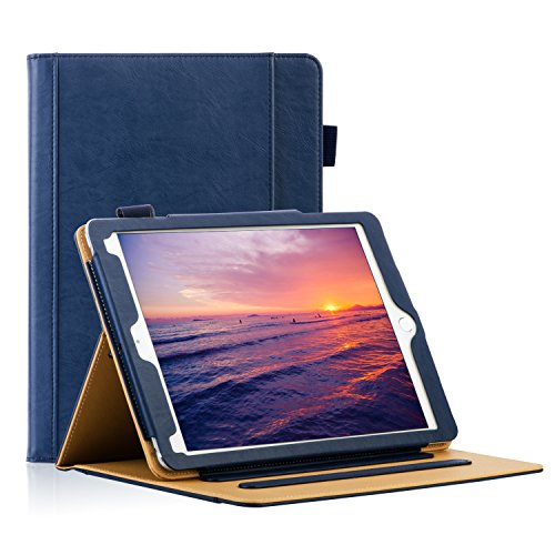 HLHGR Leather Case for iPad 9.7 Inch 5th/6th Generation 2018/2017 iPad Case Corner Protection Folding Stand Folio Cover with Pencil Holder Auto Wake/Sleep Blue