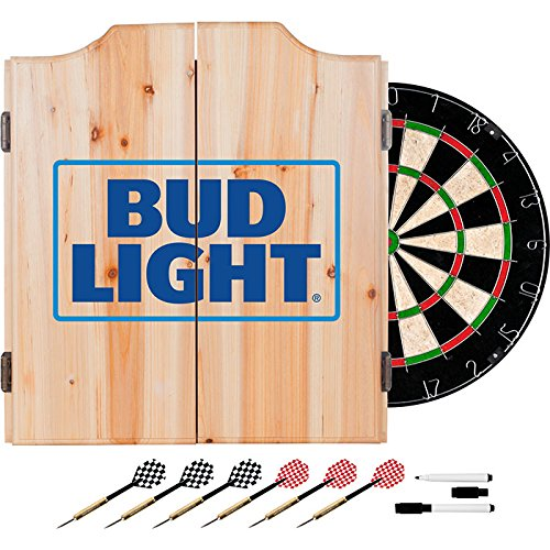 Officially Licensed Bud Light Design Deluxe Solid Wood Cabinet Complete Dart Set