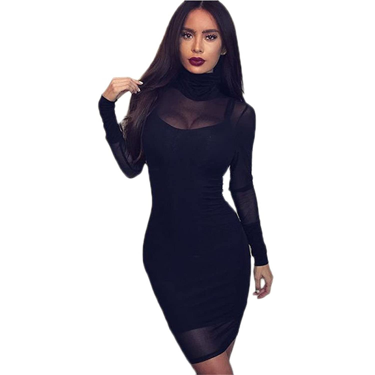 I'MQueen Womens 2 Pcs Short Black Clubwear Party Bandage Casual Sleeves Dresses