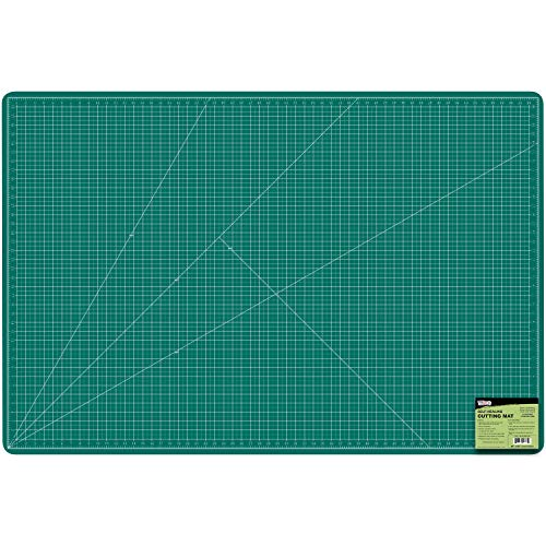"U.S. Art Supply 40"" x 60"" GREEN/BLACK Professional Self Healing 5-Ply Double Sided Durable Non-Slip PVC Cutting Mat Great for Scrapbooking, Quilting, Sewing and all Arts & Crafts Projects"