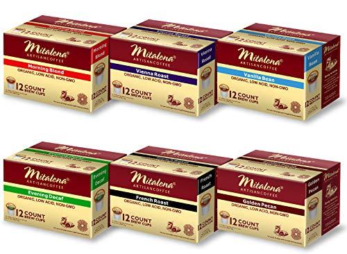 Mitalena Variety Pack Low Acid Organic Gourmet Coffee 72 ct K-cup (6 packs of 12 ct) -