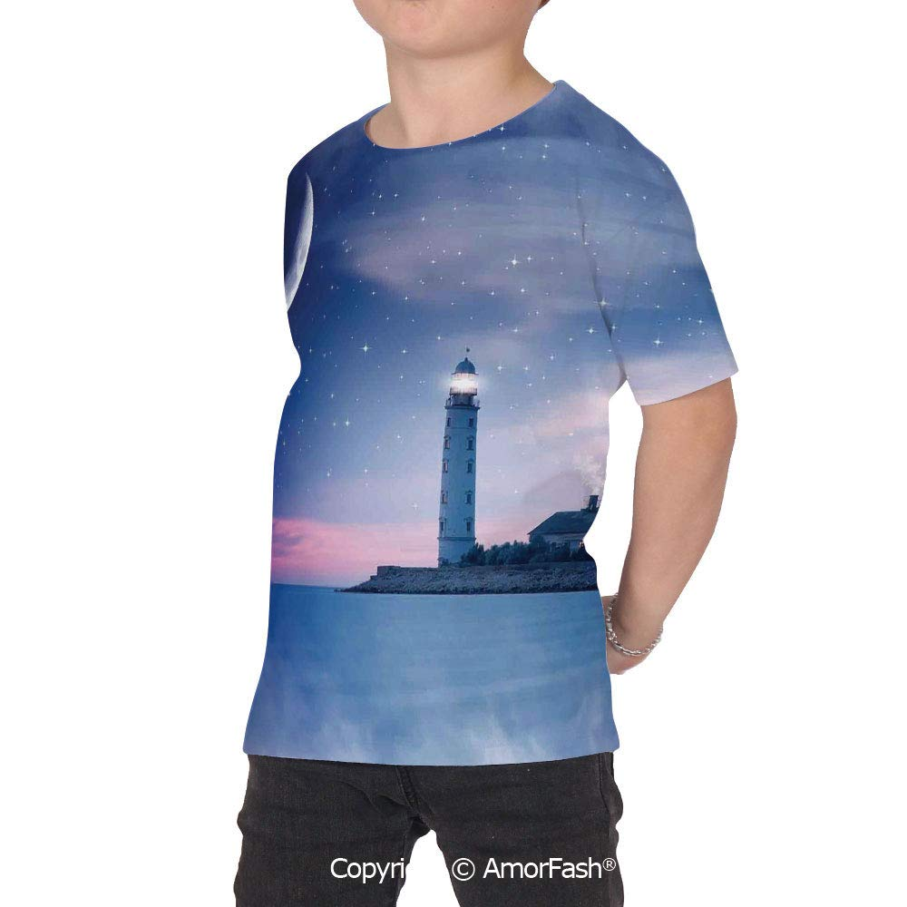 PUTIEN Lighthouse Decor Girl Regular-Fit Short-Sleeve Shirt,Personality Pattern,Lightho