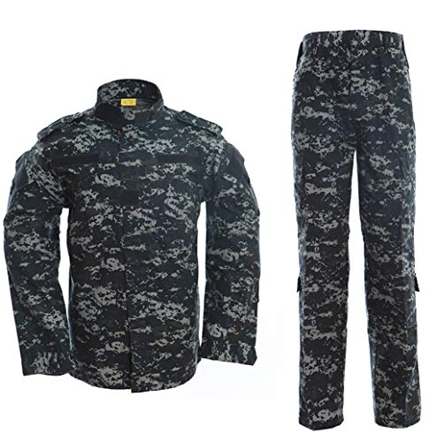 - Men's Tactical Jacket and Pants Military Camo Hunting ACU Uniform 2PC Set
