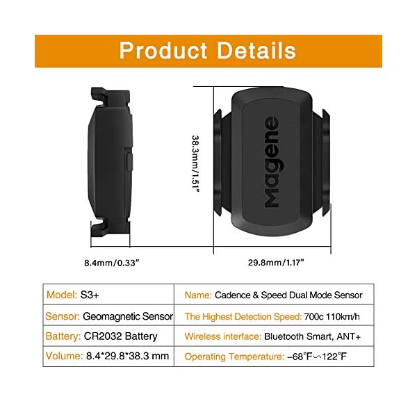 Magene S3+ Capteur de Vitesse et de Cadence de vélo, capteur de Vitesse Ant + et Buletooth 4.0 Wireless Bicycle RPM