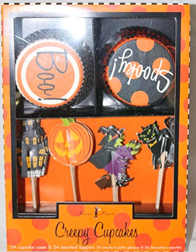 Meri Meri Halloween Creepy Cupcakes Decorating Kit Boo Spooky Cases Toppers]()