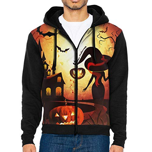 Men's Pullover Hood Witch Castle Party of Hallowee Zip Hoodies Hooded Cool Jackets Coats