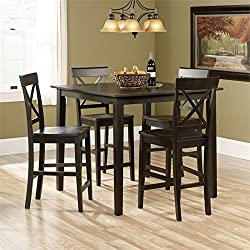 Sauder 416871 Black Finish Edge Water Counter Height Dining Set