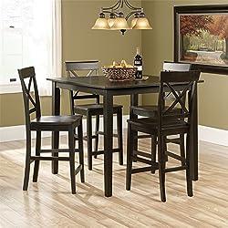 Sauder 416871 Black Finish Edge Water Counter Height Dining Set