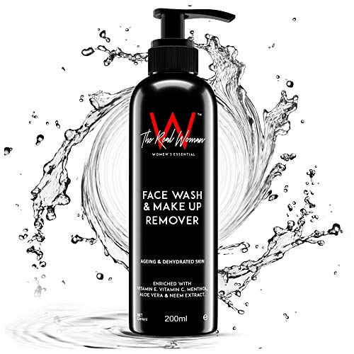 THE REAL WOMAN Face Wash & Make Up Remover 200ml. Enriched With Vitamin E, Vitamin C, Menthol, Aloe Vera & Neem Extract. Best For Ageing & Dehydrated Skin.