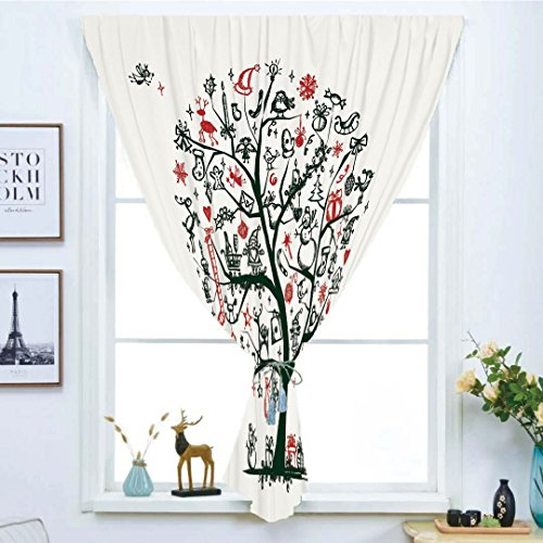 Blackout Curtain Free Punching Magic Stickers Window Curtain,Christmas,Large Tree with New Year Ornaments Presents and Candles Angels Holiday Theme Decorative,Green Vermilion,for Living Room (Stain Glass Angel Christmas Ornament)