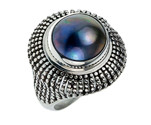 Black Mabe Pearl - 22mm Sterling Silver BALI VINTAGE ANTIQUE BLACK MABE PEARL Stone 5-14