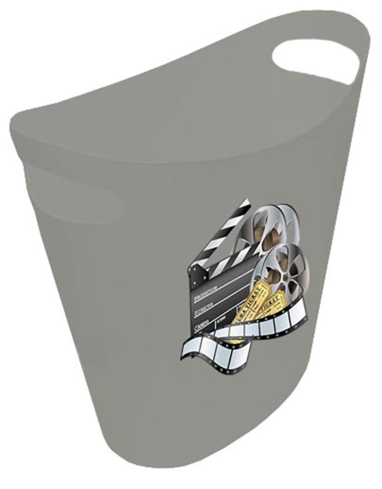 NEW! 2 Gallon Slim Style Wastebasket in a Grey Plastic Finish that Features Your Choice of a Novelty Theme Logo and a Free Trash Can Liner! (Movie Reel)