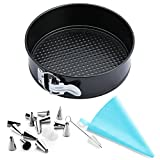 AleCuci Springform Pan with 24 Pieces Cake Decorating Supplies Tools 9Inch Round Baking Cake Cheesecake Pan Non-Stick Leakproof Removable Bottom Perfect Release