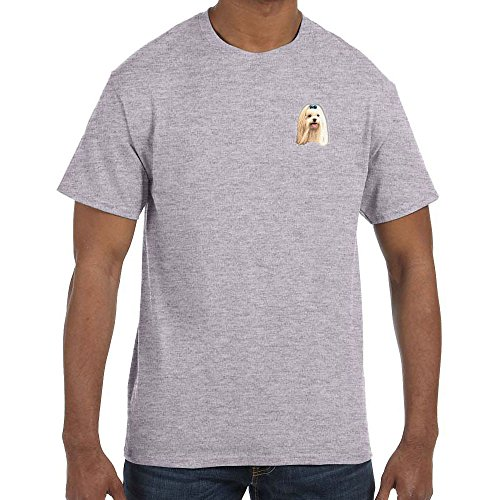 Cherrybrook Dog Breed Embroidered Mens T-Shirts - Large - Sport Grey - Maltese