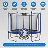 Upper Bounce 14 FT Round Trampoline Set with Safety Enclosure System - Blue