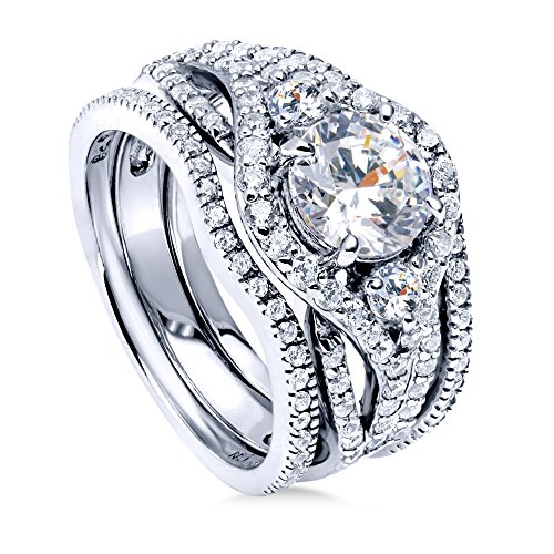 BERRICLE Rhodium Plated Sterling Silver Round Cubic Zirconia CZ 3-Stone Anniversary Engagement Wedding Ring Set 2.36 CTW Size 8 ()