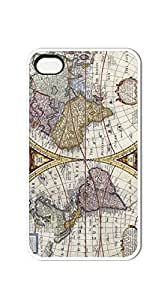 Plastic Phone Case Back Cover cell phone case iphone 4s - Retro Old World Map