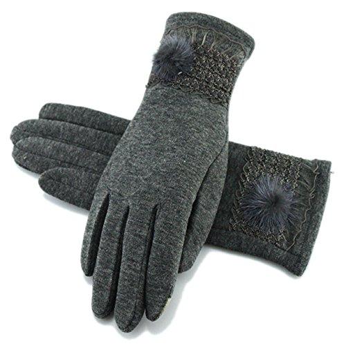 手袋 レディース 無地 5本指  もこもこ 暖かい 裏起毛 おしゃれ かわいい 上品 カジュアル お出かけ パーティー ブラック グレー Monissy