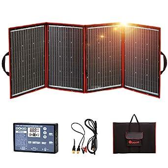 DOKIO Kit Panel Solar Plegable 200W 12V monocristalino portátil, plegable, imermeable,ideal para la energía solar al aire libre, embarcaciones, camping, caravanas o autocaravanas.para batería de 12V: Amazon.es: Amazon.es