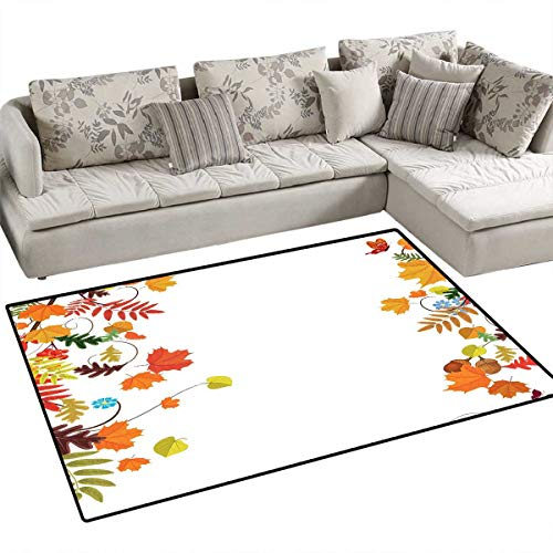Harvest Girls Rooms Kids Rooms Nursery Decor Mats Colorful Seasonal Maple Aspen Leaves Frame Fall Foliage Environment Nuts Butterfly Bath Mats for Floors 48
