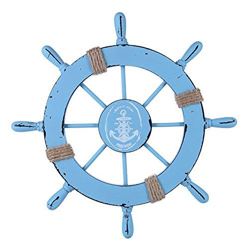 Rienar Nautical Beach Wooden Boat Ship Steering Wheel Fishing Net Shell Home Wall Decor (Light Blue)