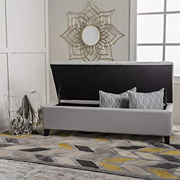 Christopher Knight Home 299391 Living Santa Rosa Light Grey Fabric Storage Ottoman,