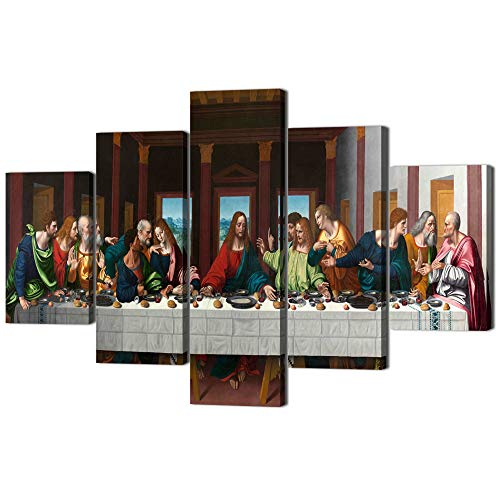 The Last Supper,Leonardo Da Vinci Classic Reproductions,5 PCS Oil Painting on Canvas Giclee Print and Museum Quality Framed Art for Wall Décor Gallery Wrap Artwork Stretched Ready To Hang(60''Wx40''H) (The Last Supper Leonardo Da Vinci Original)