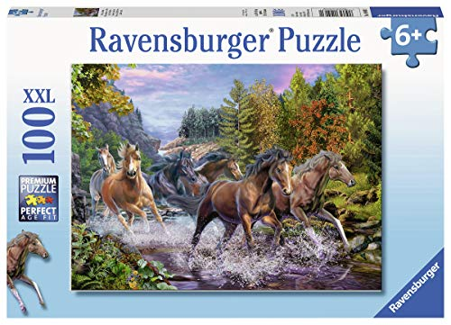 Horses Puzzle Piece 100 - Ravensburger 10403 Rushing River Horses, 100 Piece Puzzle for Kids, Every Piece is Unique, Pieces Fit Together Perfectly
