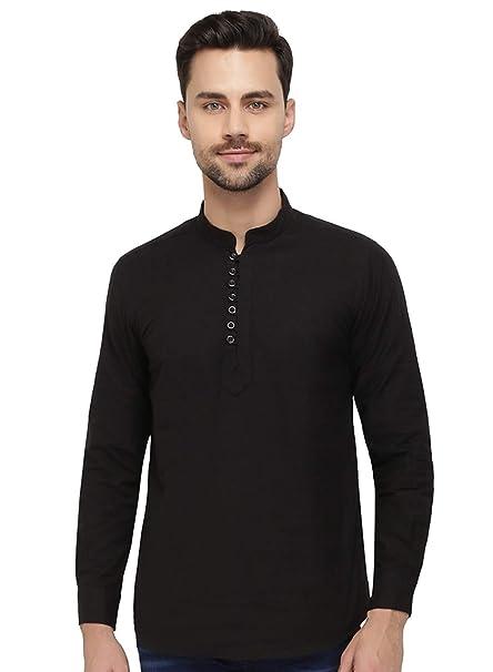 nick jess - Camisa Casual - Cuello Mao - para Hombre Negro Negro (S(Pecho 24af023a6d3