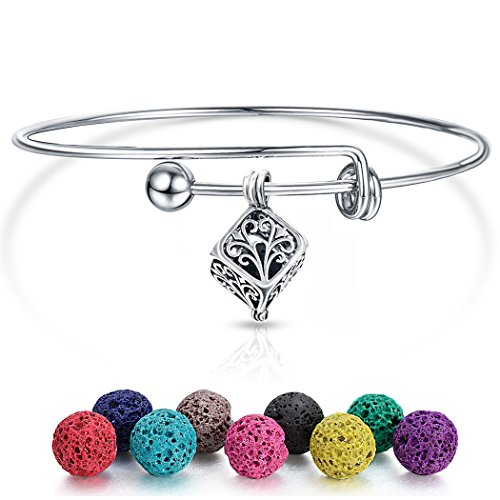 Wisdom Aromatherapy ([UPGRADED] Aromatherapy Essential Oil Diffuser Bracelet - Hollow Tree of Life Cube Pendant with Expandable Wire Bangle Bracelet)