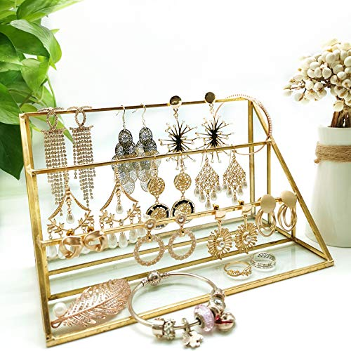 3-Tier Glass Triangular Prism Shaped Jewelry Stand Display Case with Vintage Style Brass Tone Metal Frame (Middle)