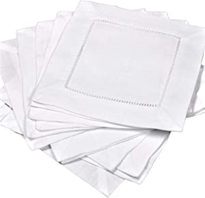 Bulk 60 pieces White Linen Hemstitch Cocktail Napkins 6