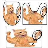 qianhehome Bathroom Non-Slip Rug Set A Cat Looking into The Mirror and Seeing a Reflection of a Lion Digital Image for White and Apricot.in Bath Mat Bathroom Rugs 15.7''x15''-23.6''x23.6''-47.2''x23.6''