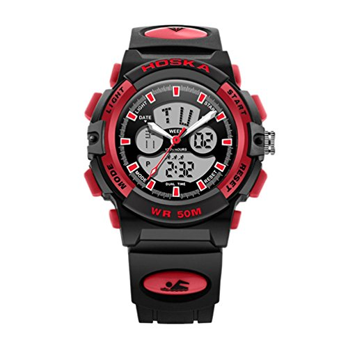 Kids Dual Dial Analog Digital Quartz Sport Watch Multifunction Two Timezone 24H Military Time Waterproof Casual Back Light 164FT 50M Water Resistant Calendar Day Date ()