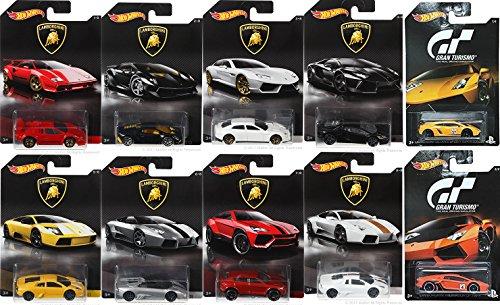 Hot Wheels Exclusive Best of Lamborghini 2017 10 Car Set Collection + Gran Turismo Video Game Lamborghini Cars (10 Replica Car)