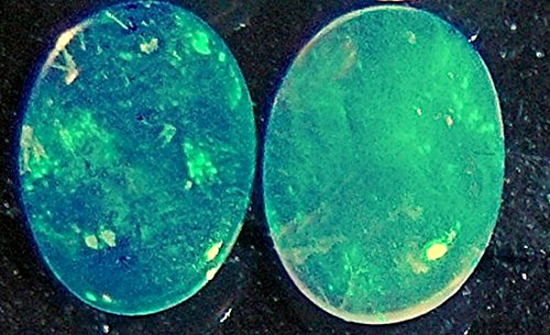 Stunning 7x5mm Green Fire Natural Australian Solid Crystal Opal Oval cabochon Pair 1ct
