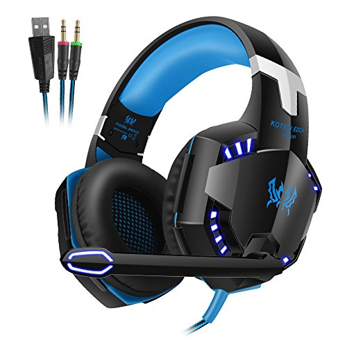 VersionTech G2000 Stereo Gaming Headset PC with Mic, Over-ear Headphones with Volume Control, Bass, Noise Isolating and LED Lights - Blue & Black