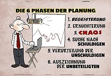 Comcard Die 6 Phasen Der Planung Lustig Comic Blechschild Amazon De
