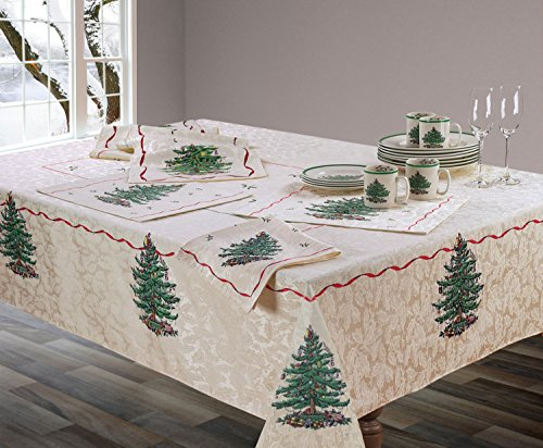 Spode Christmas Tree Fabric Tablecloth (60x104) - Spode Christmas Tree Fabric