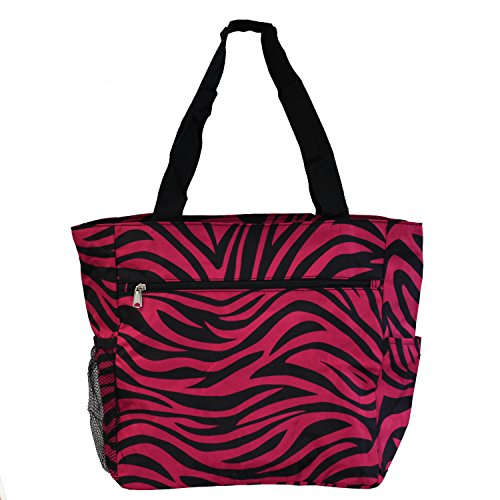 - World Traveler 13.5 Inch Beach Bag, Fuchsia Black Zebra, One Size