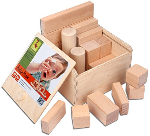 CreaBLOCKS Holzbausteine Baby-Pack (22 Bauklötze unbehandelt) Holzbauklötze für Kleinkinder ab 6 Monate Holzklötze naturbelassen