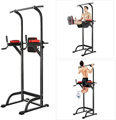 Chirde Fitness Power Tower, Multi-Function Adjustable Pull Up Stand Strength Training Workout Dip Station for Home Gym Office