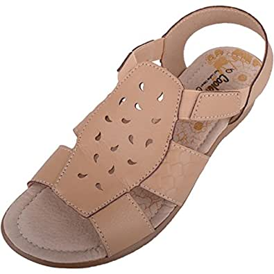 ABSOLUTE FOOTWEAR Womens Soft Leather Summer/Holiday Sandals/Shoes with Elasticated Fit - Beige - US 6