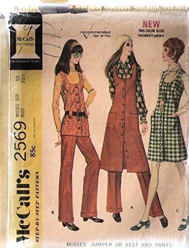 \Mccalls 2569 Sewing Pattern for 1970 Vintage Mod Jumper, Belted-vest, Longer Duster-length Vest, 7 Cuffed Slightly Flared Pants